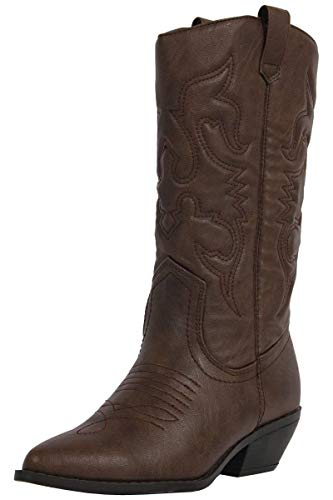 - SODA Women's Reno Western Cowboy Pointed Toe Knee High Pull On Tabs Boots, Dark Tan (6)