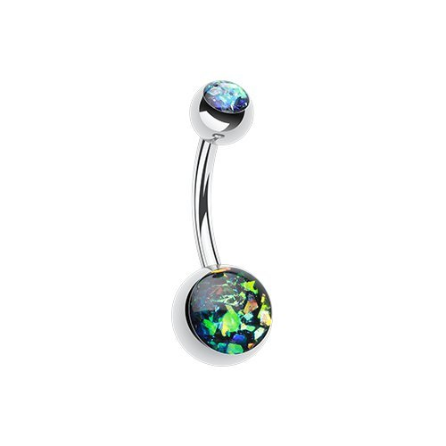 Opal Glitter Shower Basic 316L Surgical Steel Belly Button Ring (Black)