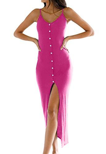 Eliacher Women's Button Down Adjustable Spaghetti Straps Summer Dress Sleeveless Bodycon Party Maxi Dress (S, Rose red)