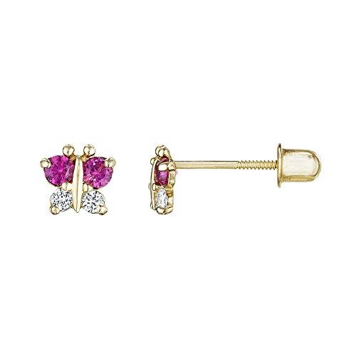 14kt Solid Gold Kids Butterfly Stud Screwback Earrings - Ruby (Childrens Butterfly Earrings)