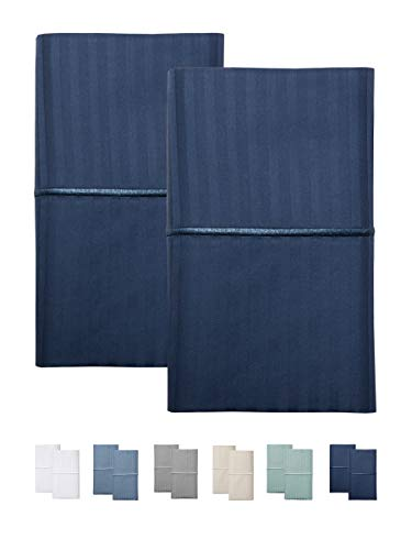 FEATHER & STITCH NEW YORK 500 Thread Count Sheet Sets (Insignia Blue, King Pillowcases)