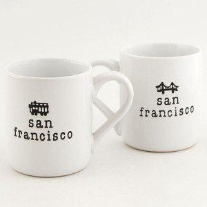 ((28 6/18) CM San Francisco Coffee Mug Golden Gate Bridge Cable Car Typewriter White 11 oz SFMugola With Copyrighted CA Bear Magnet)