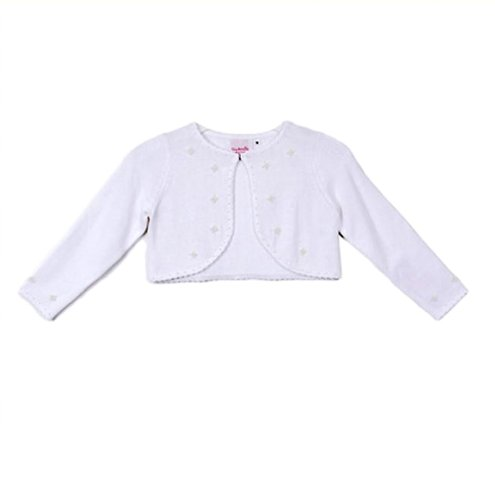 Classy 3010 White Pearl Beaded Sweater for Girl - Size S