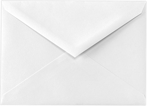 Baronial 100 Boxed A7 (5-1/4 x 7-1/4) Lee size 70lb Bright White Envelopes Pointed Flap for 5 x 7 Greeting Cards, Invitations, Weddings Birth Showers from The Envelope Gallery White Baronial Envelopes