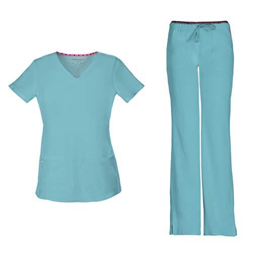 HeartSoul Women's Pitter-Pat Shaped V-Neck Scrub Top 20710 & Heartbreaker Heart Soul Drawstring Scrub Pants 20110 Medical Scrub Set (Splash - Small/Medium Petite)