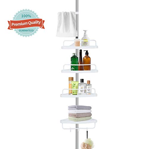YEETE HOME Adjustable Constant Corner Shower Caddy,Stainless Steel Shower Caddy Pole,4-Tier Baskets,Sturdy and Rustproof, White