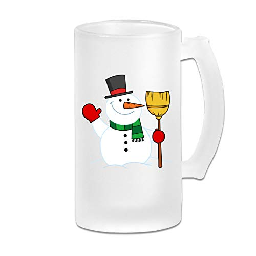 (Many Holiday Snowmen Wine Glasses Cup Tumbler With Handle, 16 OZ / 500 ML Large Pub Beer Glass For)