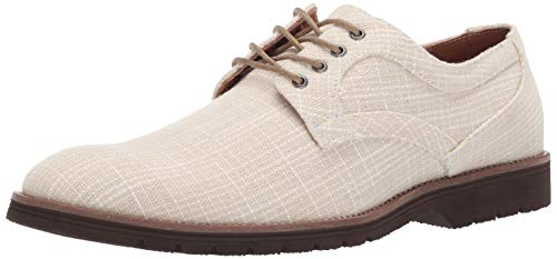 STACY ADAMS Men's Eli Textured Canvas Lace-Up Oxford, Cream 11.5 M US ()
