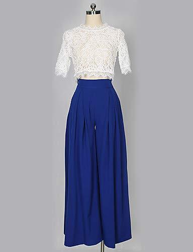 larghi Pantaloni in tinta Street Blue donna unita Chic Pieghe per YFLTZ dw7Tx5q00