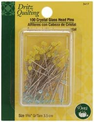Bulk Buy: Dritz Quilting Crystal Glass Head Pins 1 3/8'' 100/Pkg 3417 (3-Pack) by Dritz