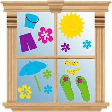 Amazon Com Summer Reusable Gel Cling Window Decorations
