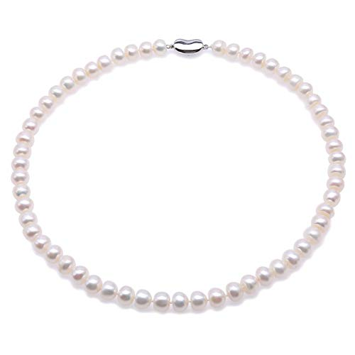 (JYX Pearl Necklace Classic AA 9-10mm Quality White Flat Freshwater Pearl Necklace for Women 18