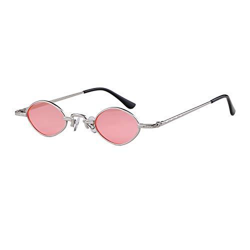 vintage hombres retro ADEWU mujeres pequeñas 1 Rosa sol de ovales Gafas Marco Plata Lente Gafas para Oval qwvq0Y
