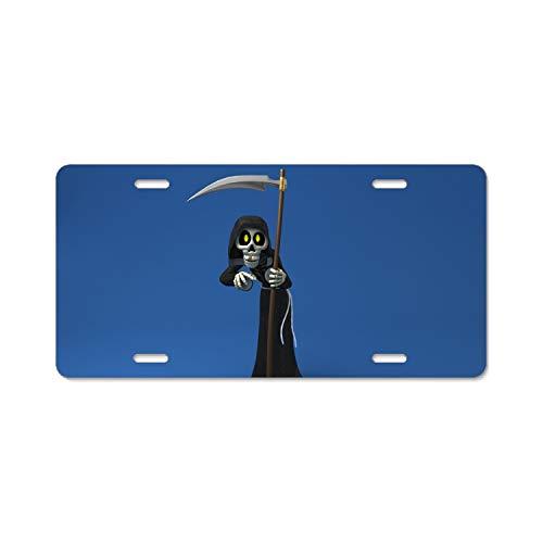 Khope Dark Grim Reaper Cartoon Scythe Halloween License Plate Frame Slim Aluminum 4 Holes 12 × 6