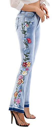 (Chartou Womens Chic Floral Embroidered High-Rise Bell Bottom Flare Jeans Broad Feet Long Denim Pants (Blue4, Medium))