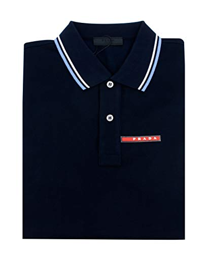 (Prada Men's Cotton Piqué Short Sleeve Slim Fit Polo Shirt, Navy SJJ887 (XX-Large))