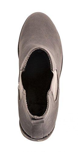 Grey Seattle Elara Aspecto Chelsea Bloque Piel Botines Cómodo De Boots chunkyrayan Tacón Mujer 6AP6p7q