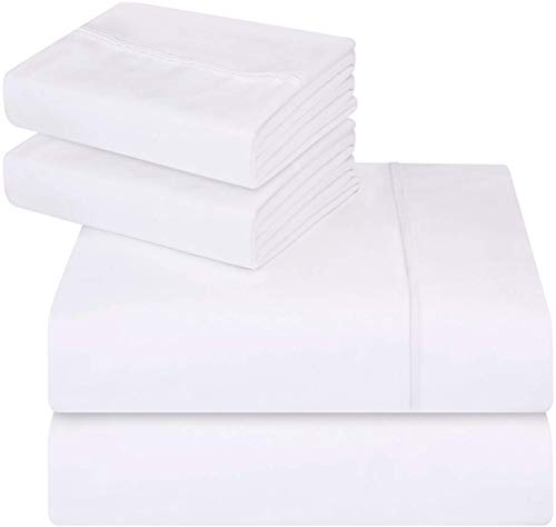 Utopia Bedding 4-Piece Queen Bed Sheet Set (White) - 4 Piece Silk Bedding