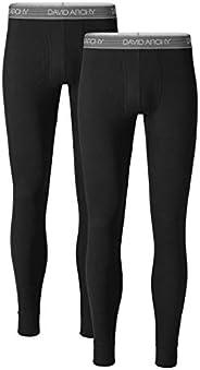 DAVID ARCHY Men's 2 Pack Cotton Thermal Pants Rib Stretchy Base Layer Thermal Underwear Bottoms Long Johns