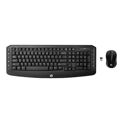 (HP Classic V2 Desktop 2.4GHz USB Wireless Keyboard Laser Mouse Bundle - Black -)
