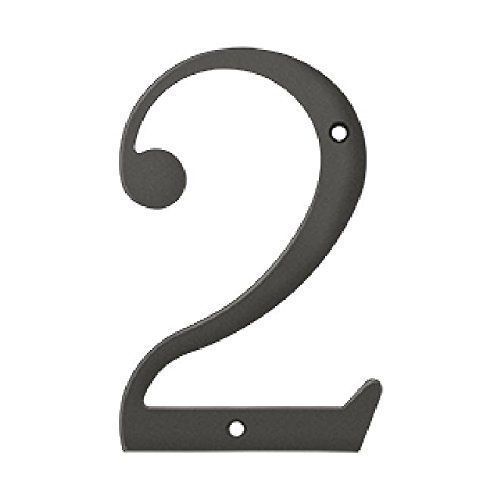 Deltana RN6-2U10B Solid Brass 6-Inch House Number 2 Board by Deltana