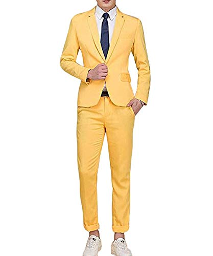 (Cloudstyle Men's Suit Single-Breasted One Button Center Vent 2 Pieces Slim Fit Formal Suits (Yellow, Medium))