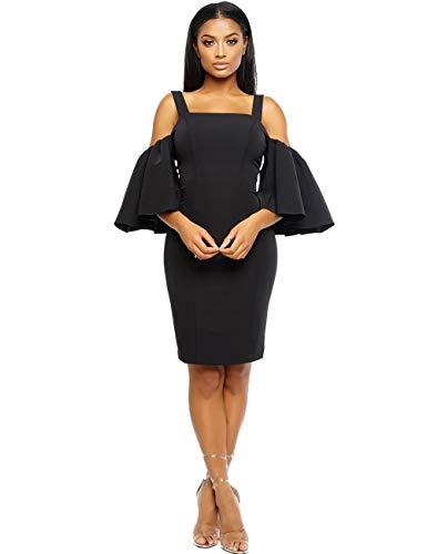(Rela Bota Women's Cold Shoulder Flutter Sleeve Midi Party Club Bodycon Dress Black M)