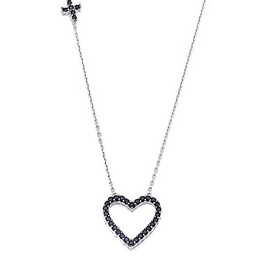 Sterling Silver Reversible Black And White Cubic Zirconia Heart Necklace