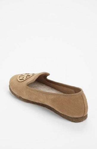 Tory Burch Billy Split Suede/Mirror Craquellee Slippers Camel/Gold Size 7
