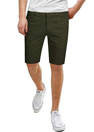 Men's Super Comfy Stretch Fit Denim Shorts ASHL46040 PK3 Army Green ()