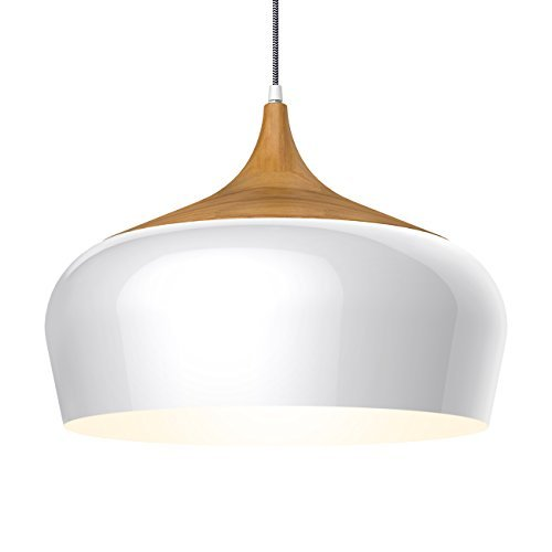 tomons Modern Style Wood Pattern Ceiling Lights, Pendant Light with 8W LED Lamp Bulb for Dining Room, Kitchen, Coffee Bar, Living Room, Study Room - PL1001, White
