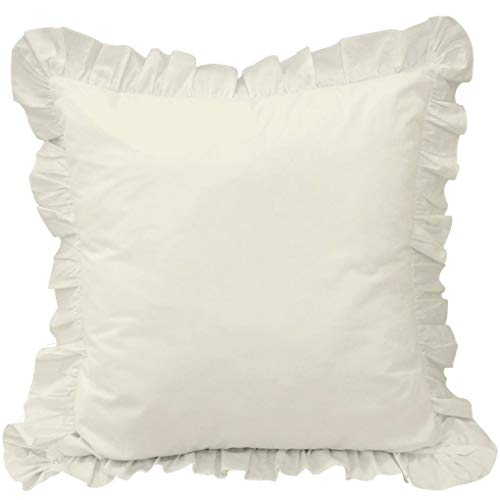White House Ivory Ruffle Pillow Shams Set of 2 - Luxury 550 Thread Count 100% Egyptian Cotton Cushion Cover Euro Size Decorative Pillow Cover European Pillow Sham (2 Pack, Euro 26'' x 26'')