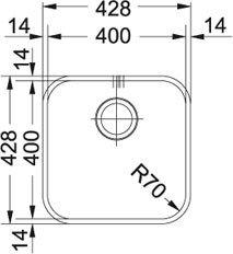 Franke SVX 110/–40//–//Évier en acier inoxydable, 400/x 400/mm