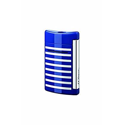 Image of Fire Starters S.T. Dupont Minijet Blue with White Stripes Torch Flame Lighter 10105
