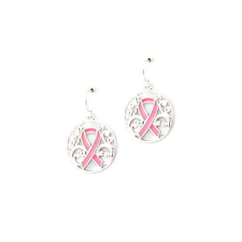 Silver Filigree Circle Drop Earrings with Pink Ribbon [Breast Cancer Awareness]