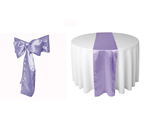 Elina Home Combo Satin Pack 5 Table Runner 12x108Inch & 25 Chair Bow Sash Wedding Banquet Kitchen HomeDecor (Lavender) ()