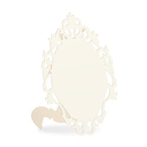 Laser Expressions Small Oval Baroque Frame Folded Place Card - Ivory (Pack of 12)