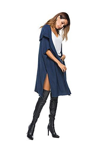 Autunno Donna Pullover Di Manica Baggy Confortevole Lunga Outwear Giovane Outerwear Moda Giacca A Monocromo Maglia Hellblau qRwYUq