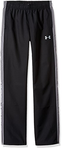 Under Armour Boys Interval Warm-Up Woven Pants, Black (001)/Steel, Youth Large -