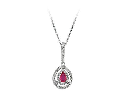 Pendentif Ruby Ovale et Diamants-Femme- or Blanc 217P0024