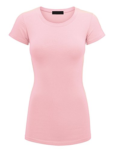 Lock and Love WT1620 Womens Basic Fitted Short Sleeve Round Neck T Shirt L Pink