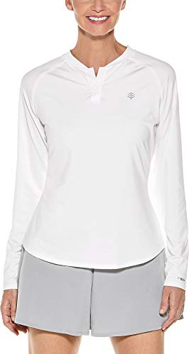 Coolibar UPF 50+ Women's Long Sleeve Match Point Henley - Sun Protective (Medium- -