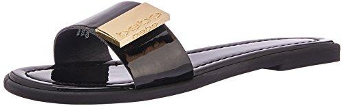 Bebe Womens Lania Flat Sandal  Black Patent  8 Medium Us