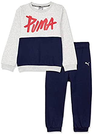 PUMA Baby MINICATS Crew Jogger, Light Gray Heather, 92