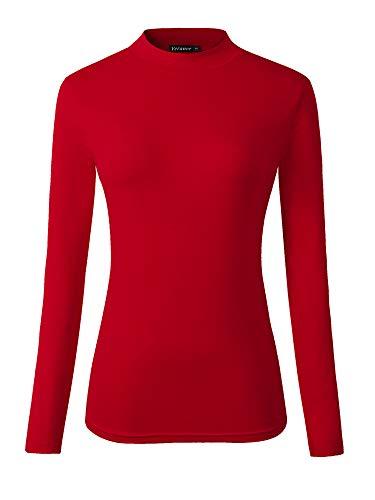 (Veranee Women's Long Sleeve Slim Fit Turtleneck Basic Layering T-Shirt Large Wine)