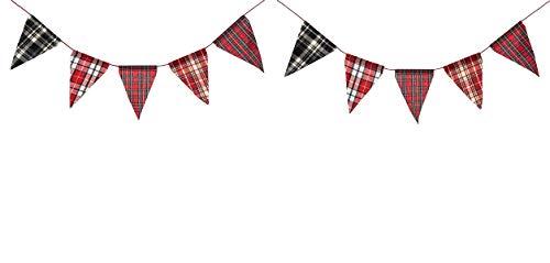 Red Plaid Cloth Pennant Banner - 72