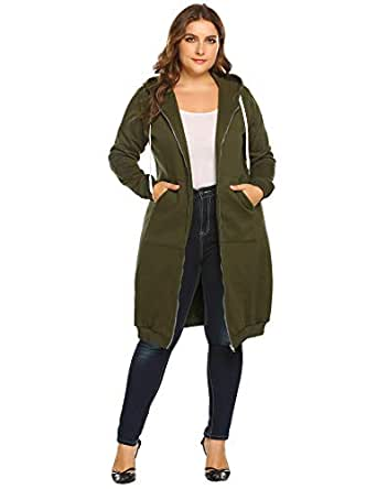 Women's Plus Size Zip Up Long Hoodie Sweatshirt Cardigan