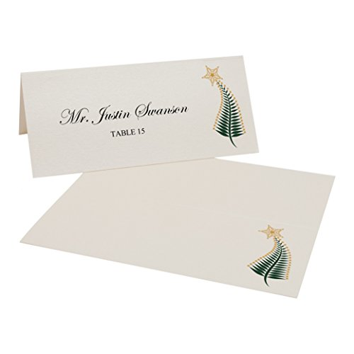 Christmas Tree Flourish Place Cards, Champagne, Set of 375 by Documents and Designs
