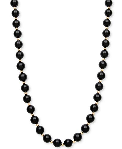 ISAAC WESTMAN 8MM Polished Black Onyx Gemstones & 14K Yellow Gold Beaded Endless Necklace For Women