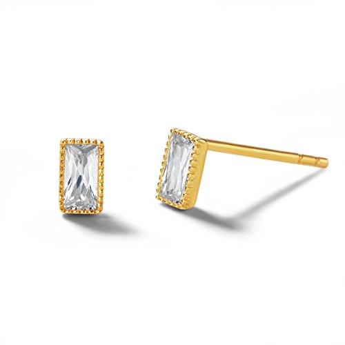Carleen 14K Solid Gold Dainty Tiny Statement Solitaire CZ Cubic Zirconia Emerald Cut Earrings Delicate Fine Jewelry Stud Earrings for Women Girls